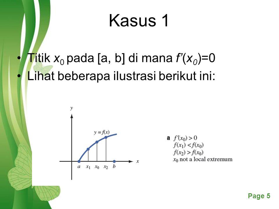 Kasus 1 Titik x0 pada [a, b] di mana f'(x0)=0